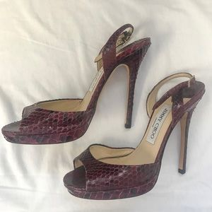 Jimmy Choo Red Snakeskin Heeled Sandals